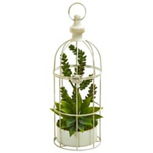 Nearly Natural Succulent Garden Artificial Plant in Birdcage