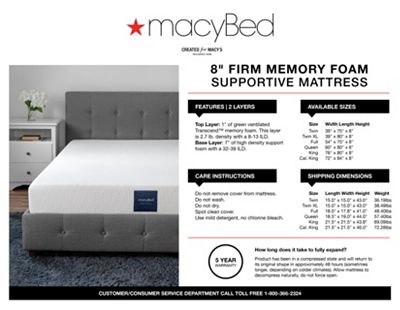 Macybed 8 Firm Memory Foam Mattress Quick Ship Mattress In A Box