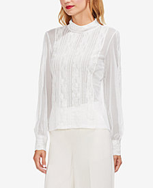 Vince Camuto Mock-Neck Mesh & Lace Blouse
