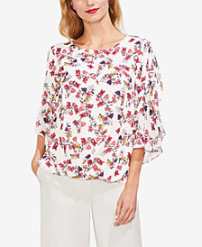 Vince Camuto Ditsy-Print Ruffle-Sleeve Top