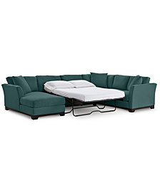 "Elliot II 138"" Fabric 3-Piece Chaise Sleeper Sectional - Custom Colors, Created for Macy's"