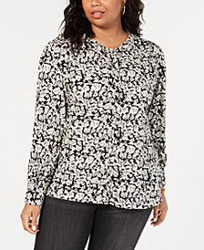Lucky Brand Trendy Plus Size Pintucked Blouse