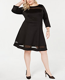Love Squared Trendy Plus Size Illusion Fit & Flare Dress