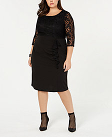 Love Squared Trendy Plus Size Lace Ruffle Dress
