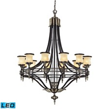 12 Light Chandelier in Antique Bronze and Dark Umber and Marblized Amber Glass - LED'S Offering Up T