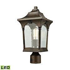 Loringdale 1 Light Outdoor Post Mount in Hazelnut Bronze with Clear Seedy Glass