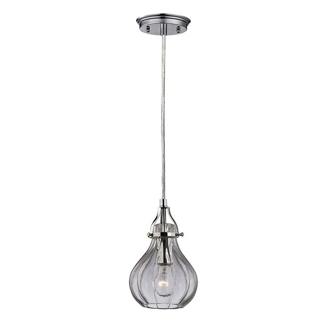 ELK Lighting Danica 1 Light Pendant in Polished Chrome and Clear Glass
