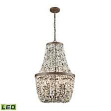 Agate Stones 5 Light Chandelier in Weathered Bronze with Gray Agate Stones