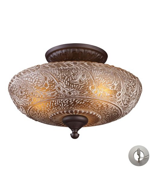 ELK Lighting Norwich 3 Light Semi Flush in Oiled Bronze and Amber Glass - Includes Adapter Kit
