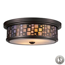 Tiffany Flushes 2 Light Flushmount in Oiled Bronze and Tea Stained Glass - Includes Adapter Kit
