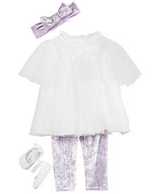 First Impressions Baby Girls Dramatic Lavender Leggings, Headband, Tulle Tunic & Ballet Flats Separates, Created for Macy's