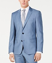 3b752318 Hugo Boss Men's Modern-Fit Light Blue Mini-Check Suit Jacket