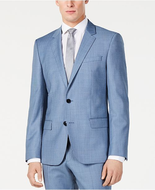 f8adb197e3ef2 ... Hugo Boss Men's Modern-Fit Light Blue Mini-Check Suit Jacket ...