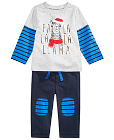First Impressions Toddler Boys FaLaLa Llama Graphic Top & Pants Separates, Created for Macy's