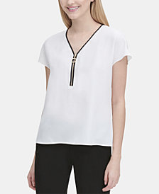 Calvin Klein Zippered Cap-Sleeve Top