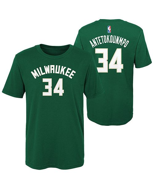 2740b046a ... Outerstuff Giannis Antetokounmpo Milwaukee Bucks Replica Name and  Number T-Shirt
