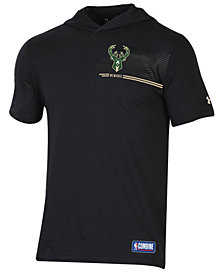 Under Armour Men's Milwaukee Bucks Baseline Short Sleeve Hooded T-Shirt
