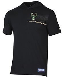 Under Armour Men's Milwaukee Bucks Baseline Short Sleeve Hooded T-Shirt