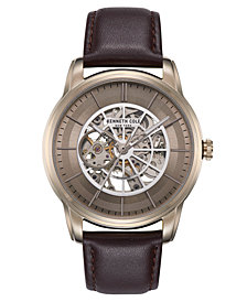 Kenneth Cole New York Men's Automatic Dark Brown leather Strap Watch 45mm