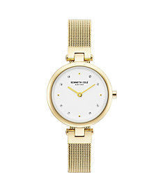 Kenneth Cole New York Ladies Gold Tone Mesh Bracelet Watch 28mm