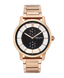 Kenneth Cole New York Men's Transparent Multifunction Rosegold Tone Bracelet Watch 44mm