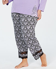 I.N.C. Plus Size Lace-Trimmed Knit Pajama Pants, Created for Macy's