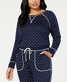 Jenni by Jennifer Moore Plus Size Printed Knit Pajama Top, Created for Macy's