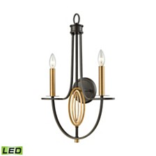 Dione 2 Light Wall Sconce in Oil Rubbed Bronze with Brushed Antique Brass Accents