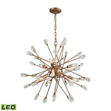 Serendipity 6 Light Chandelier in Matte Gold with Clear Bubble Glass