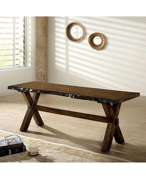 Furniture of America Terra Rough Edge X-Shaped Trestle Base Bench