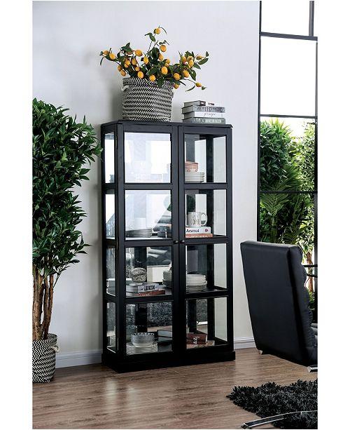 Furniture of America Mendes Grid-Like Wooden Frame Curio Cabinet