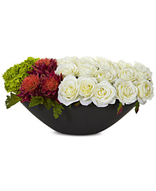 Nearly Natural Rose, Tropical Flower & Hydrangea Artificial Arrangement in Black Vase