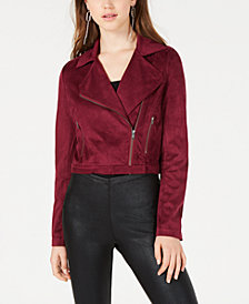 Material Girl Juniors' Faux-Suede Moto Jacket, Created for Macy's