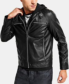 GUESS Men's Dylan Hooded Faux-Leather Jacket