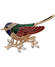 Gold-Tone Crystal Sparrow Pin, Created for Macy's