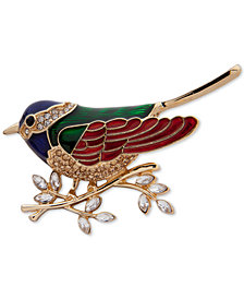 Anne Klein Gold-Tone Crystal Sparrow Pin, Created for Macy's