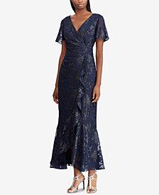 Lauren Ralph Lauren Jacquard Surplice Gown