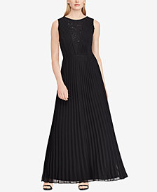 Lauren Ralph Lauren Pleated Chiffon Gown