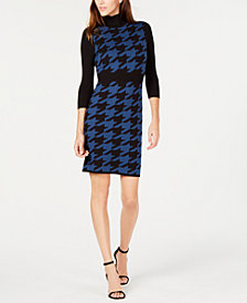 Anne Klein Houndstooth Turtleneck Sweater Dress