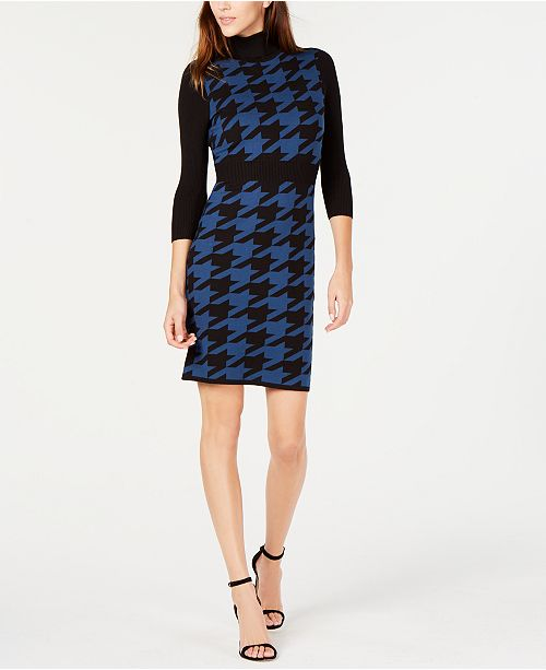 Anne Klein Houndstooth Turtleneck Sweater Dress