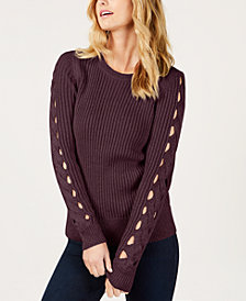 MICHAEL Michael Kors Cutout Cable-Knit Sweater, Created for Macy's