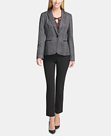 Tommy Hilfiger Plaid Blazer, Split-Neck Shell & Slim-Leg Pants