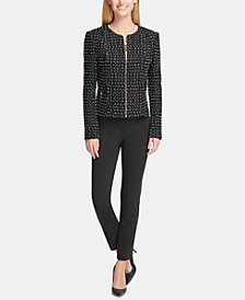 Tommy Hilfiger Tweed Jacket, Embellished Top & Slim-Leg Pants