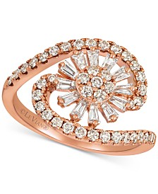 Le Vian® Baguette Frenzy™ Nude™ and Vanilla™ Diamond Flower Burst Swirl (9/10 ct. t.w.) Ring in 14k Rose Gold