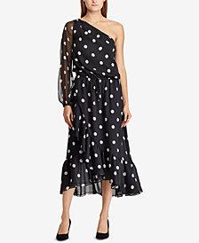 Lauren Ralph Lauren Polka-Dot One-Shoulder Dress