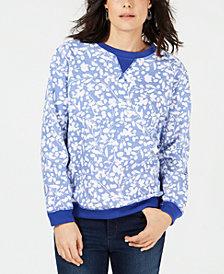 Karen Scott Petite Crewneck Printed Fleece Sweatshirt, Created for Macy's