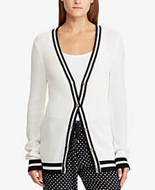Lauren Ralph Lauren Striped-Trim V-Neck Cardigan