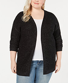 Planet Gold Trendy Plus Size Laced-Back Chunky-Knit Cardigan