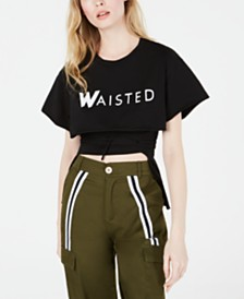 Waisted Cotton Cropped Logo T-Shirt