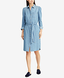 Lauren Ralph Lauren Puff-Sleeve Denim Cotton Shirtdress